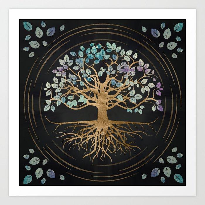Tree of life - Yggdrasil - Gold and Painted Texture Kunstdrucke