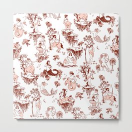 Classic Ruby Pink Zodiac-Inspired Toile Pattern Metal Print