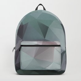 Abstract geometric polygonal pattern in grey and green tones . Backpack