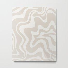 Liquid Swirl Contemporary Abstract Pattern in Mushroom Cream Metal Print