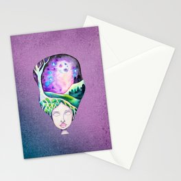 Whimsical Moonscape Girl - Purple Palette Moonscape Watercolor Stationery Cards