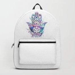Hamsa Hand Colorful Watercolor Backpack
