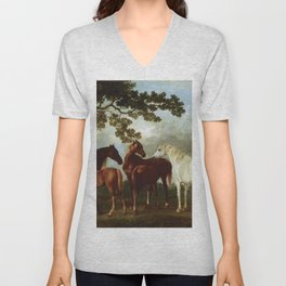 Classical Masterpiece Circa 1762 Mares and Foals in a River Landscape by George Stubbs Unisex V-Neck