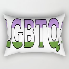LGBTQ+ Font with Queer Flag Rectangular Pillow