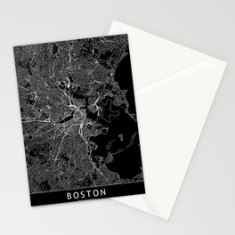 Boston Black Map Stationery Cards