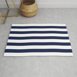 Nautical Navy Blue and White Stripes Rug