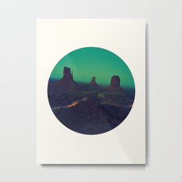 Mid Century Modern Round Circle Photo Graphic Design The Grand Canyon With Green Sunset Sky Metal Print