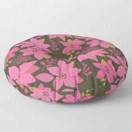 MicMick's Serene Poinsettia Dark Pink Floor Pillow