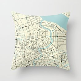 Shanghai China City Map Throw Pillow