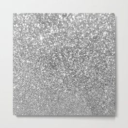 Elegant chic girly faux silver trendy abstract glitter Metal Print