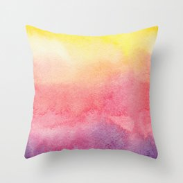 Hand painted abstract violet pink yellow watercolor paint Throw Pillow