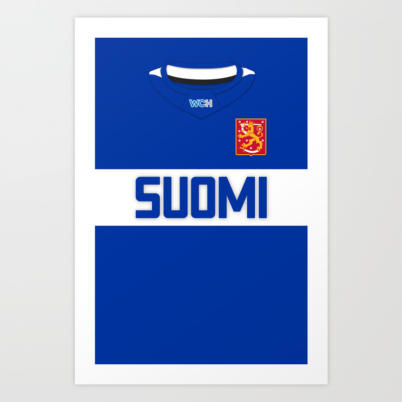 Finland World Cup Of Hockey 2016 Home Jersey Art Print by Russjerichoart PRN8086610
