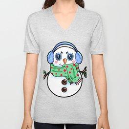 Happy Snowman Christmas Present Winter gift Unisex V-Neck