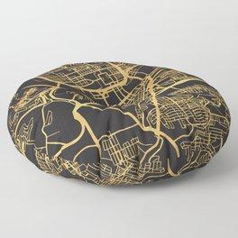 PITTSBURGH PENNSYLVANIA GOLD ON BLACK CITY MAP Floor Pillow