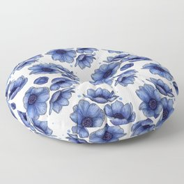 Blue Anemone Watercolor Flower Pattern Floor Pillow