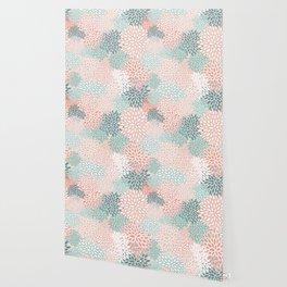 Festive, Floral Prints, Teal, Peach, Coral, Abstract Art, Colour Prints Wallpaper