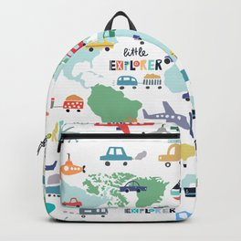 Travel The World Trains Planes Cars Trucks Map Backpack