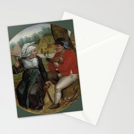 """Pieter Brueghel II (The Younger) """"A peasant holding a hen and a peasant woman holding a spindle"""" Stationery Cards"""