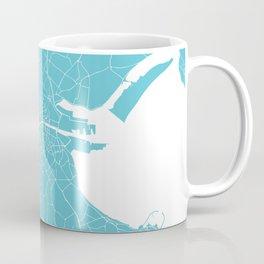Dublin Street Map Turquoise and White Coffee Mug