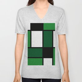 Green Mondrian Unisex V-Neck