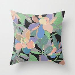 Magnolias on Black Throw Pillow
