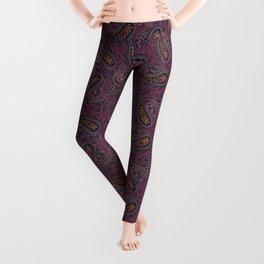 Meredith Paisley - Eggplant Purple Leggings