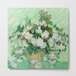 Fun Neck Gaiter Vincent Van Gogh Vase With Roses Neck Gator Metal Print