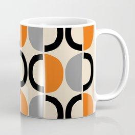 Mid Century Modern Half Circle Pattern 548 Beige Black Gray and Orange Coffee Mug