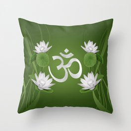 Om Symbol with Lotus flowers on green Throw Pillow