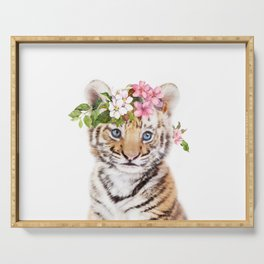 Tiger Cub with Flower Crown Serving Tray