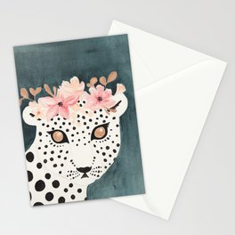 Flower Crown Leopard Stationery Cards