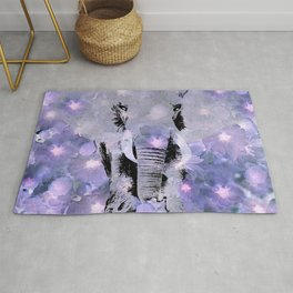 ELEPHANT AND LILAC PURPLE VIOLET BLOSSOMS Rug