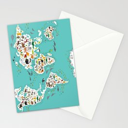 Cartoon animal world map for children and kids, Animals from all over the world back to school Stationery Cards