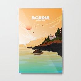 National Parks Poster: Acadia Metal Print