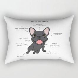 True Friends - Blue Frenchie Rectangular Pillow