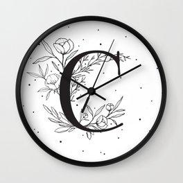 Black Letter C Monogram / Initial Botanical Illustration Wall Clock