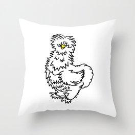White Silkie Chicken Throw Pillow