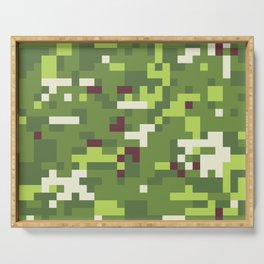 Camouflage military background in pixel style Serving Tray