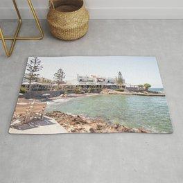 White Village In Greece Photo | Summer On Crete Island Beach Art Print | Europe Travel Photography Rug