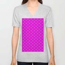 Dotted (White & Magenta Pattern) Unisex V-Neck