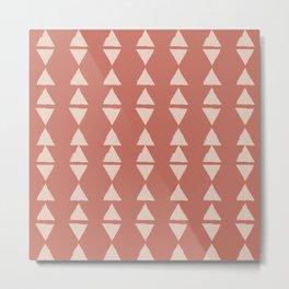 Modern Geometric Triangles in Terracotta Metal Print