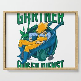 Gardener On Duty Funny Garden Gardening Gift  Serving Tray