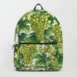 Watercolor bunches of white grapes hanging on the branch Backpack