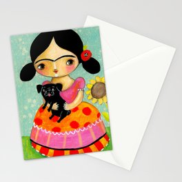 Girl with Black Pug dog by TASCHA Stationery Cards