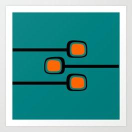 Mid Century Modern Branches - Orange on Teal Art Print