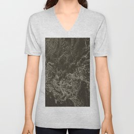 Marbled Brown Abstract Unisex V-Neck