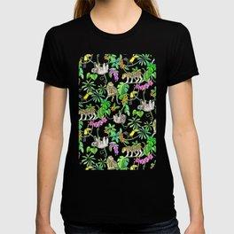 Rainforest Friends - watercolor animals on mint green T-shirt