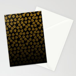 Gold Metallic Foil Photo-Effect Monstera Giant Tropical Leaves Faded on Solid Black Stationery Cards