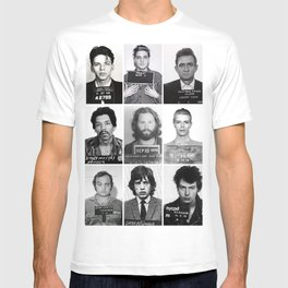 The Usual Suspects - Celebrity Mug Shots, Elvis, Johnny Cash, Jimi Hendrix, Bowie, Jagger, Belushi  T-shirt