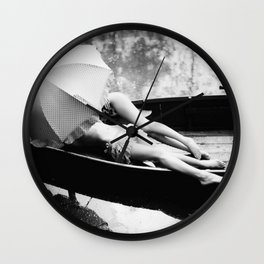 Under my Umbrella, two female figures in row boat together in the rain black and white photography / photograph Wall Clock